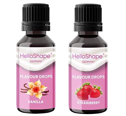 Flavour Drops zuckerfrei Set 2x 30 ml - Vanille & Erdbeere | Geschmackstropfen OHNE KALORIEN zum Süßen mit Dosierhilfe | vegan | Für Naturjoghurt, Porridge oder Quark - Hello Shape
