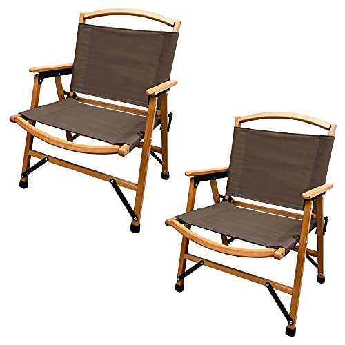 Viaggio+ アウトドア チェア 折りたたみ ウッド キャンピングチェア 木製 椅子 イス コンパクト ローチェア キャンプ 肘掛け (ダークブラウン (2個))