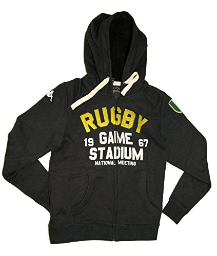 Kappa Herren Rugby-Fleece-Winterjacke, schmale Passform, italienisches Design, anthrazit, mit Reißverschluss, Größe M