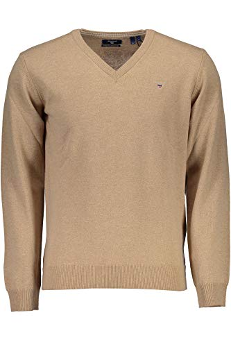 GANT Superfine Lambswool V-Neck Sweater suéter, Beige (Dark Sand Melange), Large para Hombre