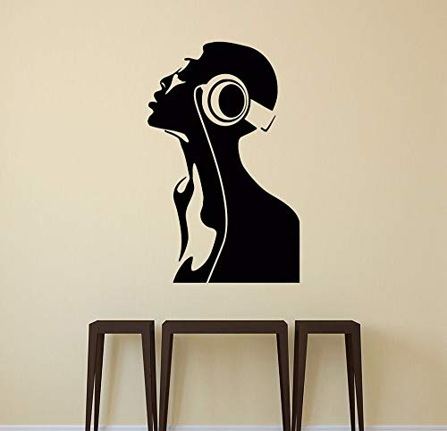 zqyjhkou Cooles Mädchen Dj Kopfhörer Aufkleber Vinyl Aufkleber Nachtclub Dekor Schlafzimmer Kunst Dekoration Entfernbare Wandaufkleber Wallpaper112x71cm