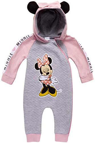 Disney Baby Girls Minnie Mouse One Piece Hooded Footless Romper Jumpsuit (Newborn and Infant), Size 18 Months, Minnie Light Pink