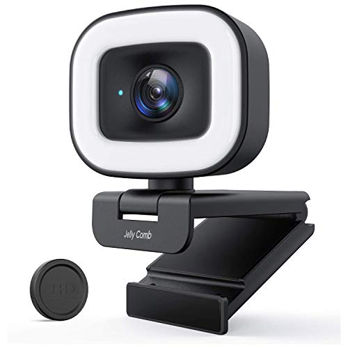 Jelly Comb 1080P Webcam mit Stereo Mikrofon, 60 FPS Live-Streaming Webcam mit Ringlicht, Webkamera mit 3-stufige einstellbare Helligkeit, USB Kamera für PC/Videochat-Aufnahme/Mac/Laptop/Zoom/Skype