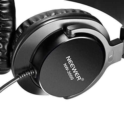 Neewer NW-3000 Auriculares Cerrados de Estudio, Auriculares Dinámicos de 10Hz - 26Khz Ligero con 3 Metros de Cable, Enchufes 3,5mm y 6,5mm para Música,Películas,Grabación
