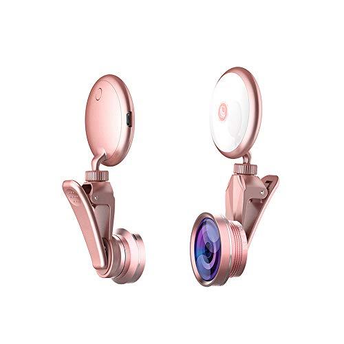 NBWS LED Ring Selfie Licht 4K HD 50X Macro Lens 150° Brede Hoek Lens met Oplaadbare Smart Selfie Licht Een Sleutelbediening Dimbaar 360° Draaien voor Smartphones Tablet Laptop Youtube Zelfportret Video