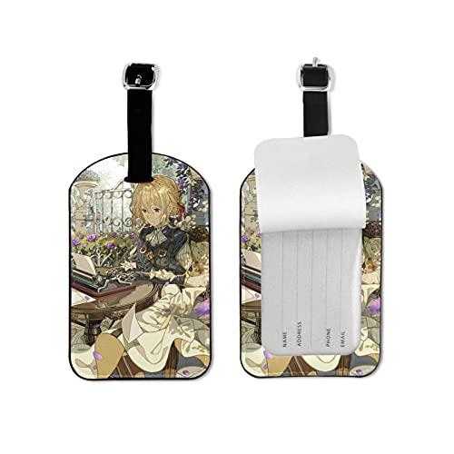 Violet Evergarden etiqueta para equipaje elegante y exquisita, hecha de piel sintética de microfibra, apta para maleta y bolso