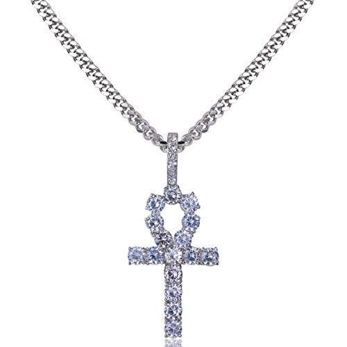 TOPGRILLZ 14K Gold Plated Iced Out CZ Lab Diamond Ankh Cross Egyptian Pendant for Men and Women with 24' Stainless Steel Chain Necklace(White Gold Cuban Chain,24)