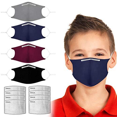 Jonecal 4-Stück Kinder Mundschutz Multifunktionstuch Mädchen und Jungen Wiederverwendbare Staubdicht Maske Atmungsaktive Baumwolle Stoffmaske Half Face Halstuch (4+8, Mehrfarbig)