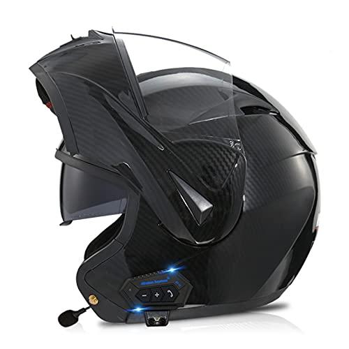 ETScooter Bluetooth Casco Moto Modular ECE Homologado Casco de Moto Integral para Mujer Hombre Adultos con Anti Niebla Doble Visera Casco Integrado con 500mA Auriculares Bluetooth