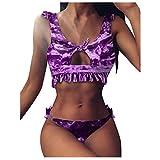 Traje de baño Control de Barriga,Women Bandeau Bandage Bikini Set Push-Up Brazilian Swimwear Beachwear Swimsuit