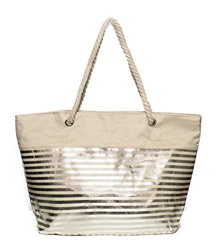 Kandharis Strandtasche Badetasche große Sommertasche Schultertasche Shopper mit Reissverschluss Streifen Muster Metallic XL Damen ST-27 Silber