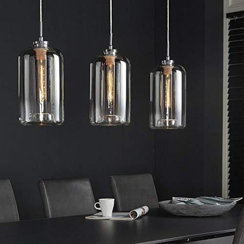 famlights deckenleuchte modern design | Pendelleuchten silber | lampe küche / 3-flammig dimmbar Fassung: E27, industrieleuchten | küchenlampen deckenleuchte/Schlicht