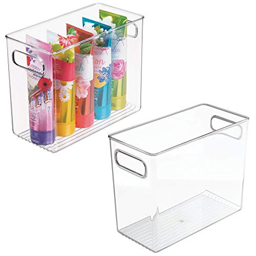 mDesign Slim Plastic Storage Container Bin with Handles - Bathroom Cabinet Organizer for Toiletries, Makeup, Shampoo, Conditioner, Face Scrubbers, Loofahs, Bath Salts - 5' Wide, 2 Pack - Clear