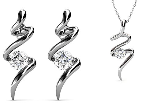 Yolora oorbellen en ketting met hanger - Prachtige set met Swarovski kristallen - Dames sieraden - Zilverkleurig - YO-017