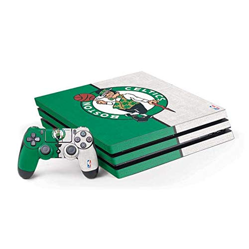 Skinit Decal Gaming Skin Compatible with PS4 Pro Console and Controller Bundle - Officially Licensed NBA Boston Celtics Canvas Design