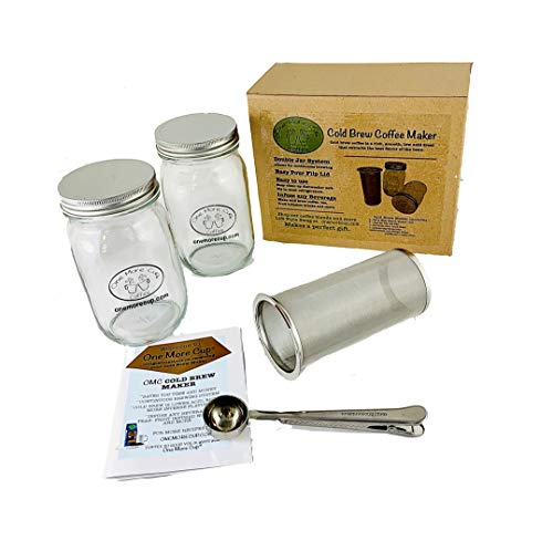 One More Cup - Cold Brew Coffee Maker Continuous Brew System - Iced Tea Fruit Infusion Removable Stainless Steel Mesh Filter Two-32oz Heat Tempered Mason Jars Scoop Instructions Dishwasher Safe