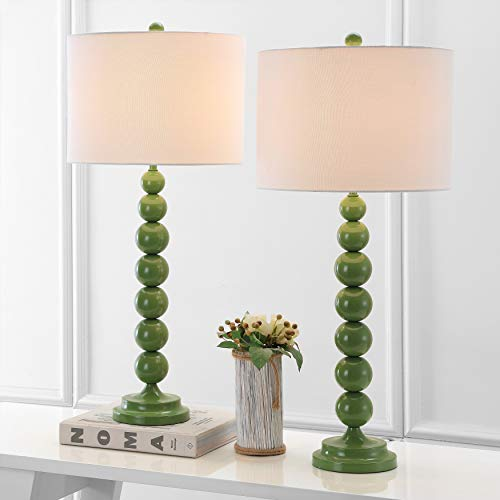 Safavieh Lighting Collection Jenna Green Stacked Ball 32-inch Bedroom Living Room Home Office Desk Nightstand Table Lamp (Set of 2) - LED Bulbs Included