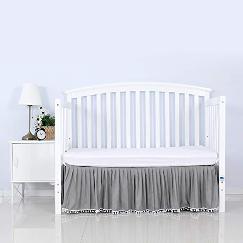 Grey Crib Skirt Pleated with White Lovely Pompoms, Bedding Dust Ruffle for Baby...