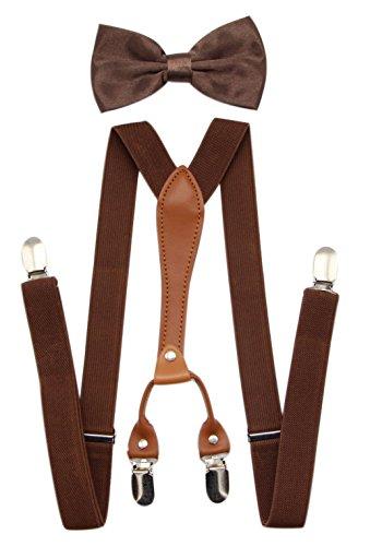 JAIFEI Suspenders & Bowtie Set- Men's Elastic X Band Suspenders + Bowtie For Wedding, Formal Events (Brown)