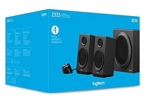Logitech Z333 2.1 Multimedia Speaker System with Subwoofer, Rich Bold Sound, 80 Watts Peak Power, Strong Bass, 3.5mm Audio and RCA Inputs, UK Plug, PC/PS4/Xbox/TV/Smartphone/Tablet/Music Player, Black