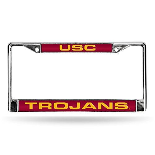 NCAA Rico Industries  Laser Cut Inlaid Standard Chrome License Plate Frame, USC Trojans - Red Insert