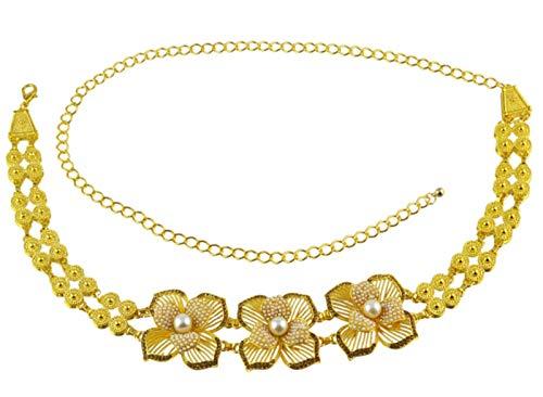 MLHXHX Moda Turquesa Cintura Cadena Popular Playa Casual Danza Flor de la Cintura de la Joyería de Oro 1