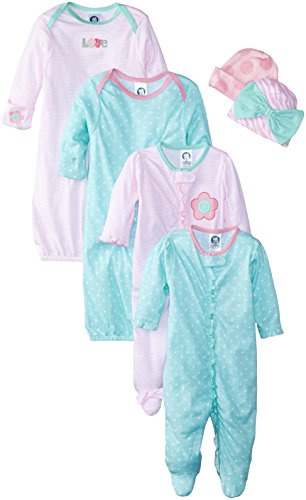 Gerber Baby Girls' 6 Piece Gown, Cap (0-6m), and Sleep'n Play (0-3m) Gift Set, Zebra