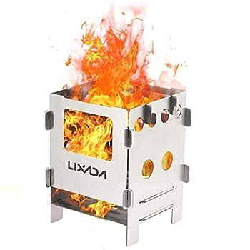 Lixa-da Réchaud de Camping à Bois Portable en Acier Inoxydable Cuisine de Plein air de Pique-Nique (Type1)