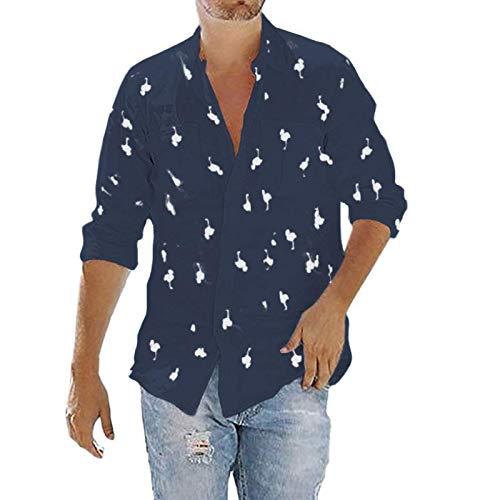 Camisa de Manga Larga Estampada para Hombre Tendencia a la Moda Ropa de Calle al Aire Libre Fiesta en la Playa Camisas Casuales de Cuello Vuelto con Bolsillos L