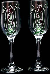 Celtic Glass Designs Set of 2 Hand Painted Champagne Flutes in a Mackintosh Tulip Design