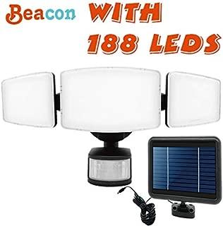 188 LED 1000 Lumens Outdoor Sensor Light Weatherproof Triple Dual Head Outdoor Motion Sensor Fire Flood Light, Ultra-Bright for Patio, Deck, Garden, Driveway