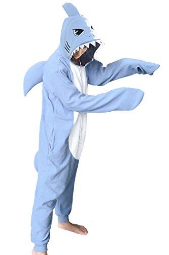 WOTOGOLD Animal Cosplay Costume New Shark Unisex Adult Pajamas Sky Blue, Small