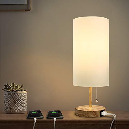 Albrillo Tischlampe - E27 Tischleuchte mit 2 USB Ladeanschlüssen, Modern Nachttischlampe aus Stoff, Zylindrisch Schreibtischlampe mit Zugschalter und E27 Fassung, für Wohnzimmer, Schlafzimmer und Büro