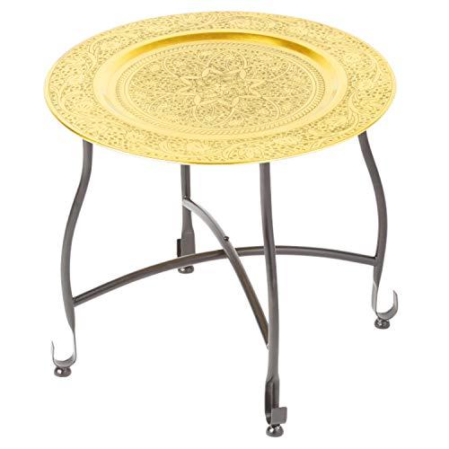 Marokkanischer Tisch Beistelltisch aus Metall Sule ø 40cm rund | Orientalischer runder Teetisch klein mit klappbaren Gestell in Schwarz | Das Tablett diese Klapptische ist orientalisch in Gold