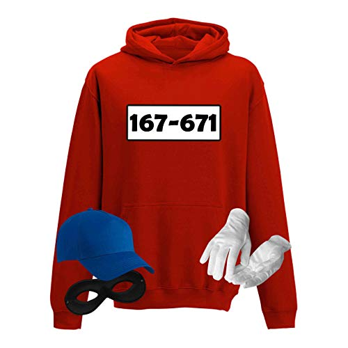 Hoodie Panzerknacker Kids Wunschnummer Kostüm-Set Karneval Kinder XS-XL 98-152 Fasching Party, Größe:116 - S (5-6 Jahre), Logo & Set:Standard-Nr./Set komplett (167-761/Hoodie+Cap+Maske+Handschuhe)