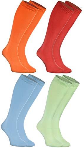 Rainbow Socks - Hombre Mujer Calcetines Largos de Bambu - 4 Pares - Naranja Rojo Azul Verde - Talla: EU 39-41