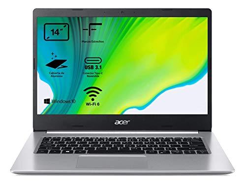 Acer Aspire 5 A514-53 - Portátil 14' HD (Intel Core i3-1005G1, 8B RAM, 512GB RAM, Intel UHD Graphics, Windows 10 Home), Teclado QWERTY Español, Color Plata