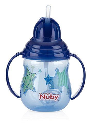 Nuby 1-Pack Designer Series No Spill Flip N' Sip Twin Handle Cup with Weighted Straw , 9 oz - Colors May Vary, Blue/Pink/Green/red/Aqua/Orange