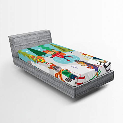 Lunarable Hedgehog Fitted Sheet, Winter Forest Fun Nursery Cartoon of Bear Fox Frosty Snowman Ice Skating, Bed Cover with All-Round Elastic Deep Pocket for Comfort, Twin XL Size, Multicolor