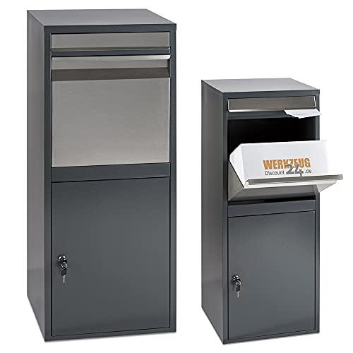 Extra großer WD Tools, Paketbriefkasten für alle Zustelldienste mit Paketfach und Briefkasten, sichere Paketbox mit Rückholsperre, Entnahme vorne 102 x 41 x 38,5