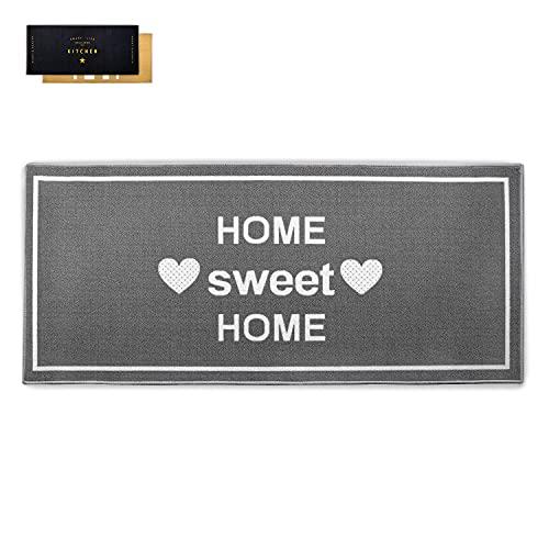 Tappetino da cucina antiscivolo lavabile in lavatrice 67 x 150 cm | Tappeto passatoia lavabile cucina | Tappeto grigio adatto al riscaldamento a pavimento | Home Sweet Home, 67 x 150 cm