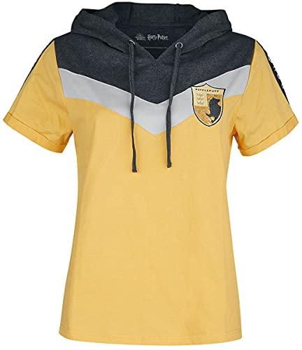 HARRY POTTER Poufsouffle Femme T-Shirt Manches Courtes Jaune XXL, 100% Coton, Regular/Coupe Standard