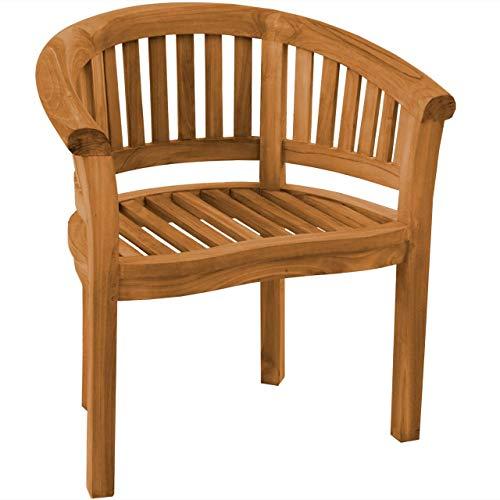 Teako Design Bananenstuhl Gartenstuhl Avellino wetterfest Teakholz massiv Stuhl mit Armlehnen, für Balkon, Terrasse