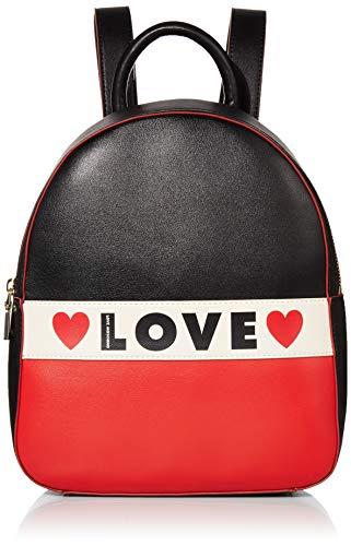 Love Moschino Borsa Small Grain Pu, Zainetto Donna, (Nero/Bianco/Rosso), 29x25x12 cm (W x H x L)