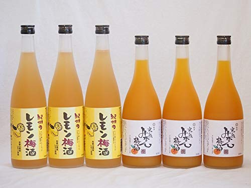 果物梅酒セット レモン梅酒×完熟みかん梅酒 中野BC(和歌山県)720ml×6本