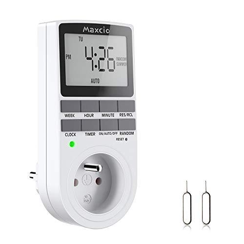 Prise Programmable Digitale, Maxcio Minuterie Numérique Hebdomadaire avec Ecran LCD, Minuterie Prise Electrique 12H/24H/7Jours, Économie d'Energie Pour L'électroménagers et L'éclairage (1 Pack)
