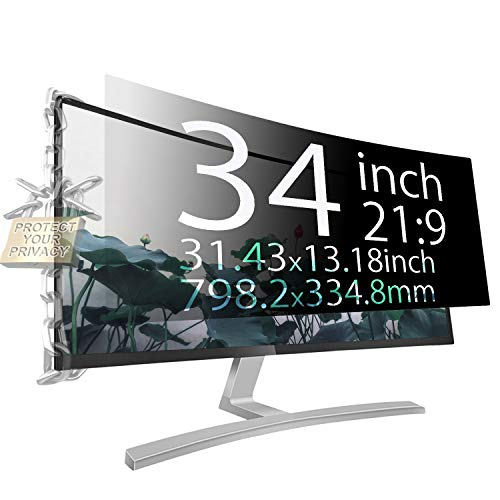 Xianan Protect Computer Privacy - 34 Inch 21:9 Aspect Ratio Computer Privacy Screen Protector Privacy Filter for Widescreen/Curved Screen Computer Monitor - Anti-Glare
