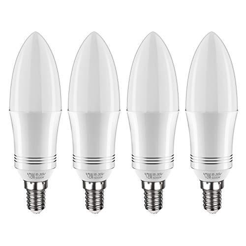 Tebio LED E14 12W Kerze Glühbirne, entspricht 100 W Glühlampe, 6000 K Kaltweiß, 1200lm, CRI>80 +, kleine Edison-Schraube, nicht dimmbar Kandelaber LED Glühlampen(4 PCS)