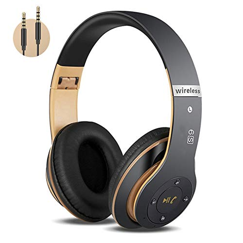 Kabellose Kopfhörer Over Ear, Bluetooth Kopfhörer mit Mikrofon Deep Bass HiFi Stereo Faltbares Wireless Headphone, Unterstützt die Micro SD/TF FM Radio (für iPhone/Samsung/iPad/Computer)
