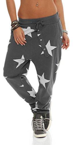 Mississhop 132 Damen Hose Sweatpants Jogginghose Baumwolle Freizeithose Boyfriend Baggy Haremshose Sternen Print mit Gummibund Graphit